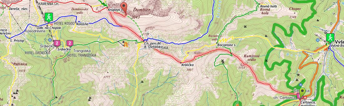 Cesta hrdinov SNP z Čertovice na Ďumbier (mapa: hiking.sk)