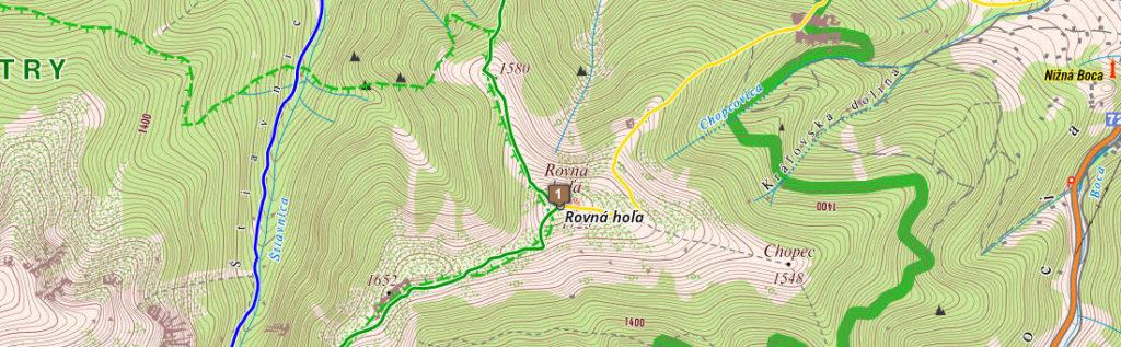 Túra na Rovnú hoľu s výhľadom na Vysoké Tatry (mapa: hiking.sk)